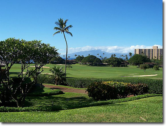 Ocean view and the Royal Kaanapali Golf Course from the K-112 Lanai